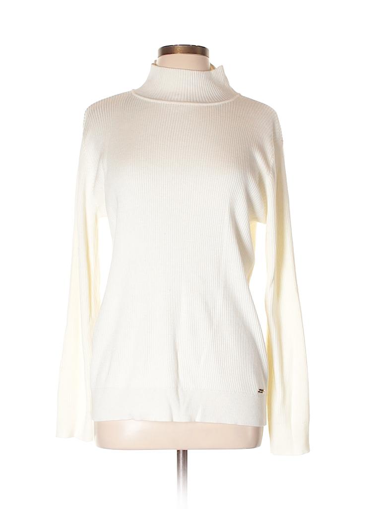 b5e48957cca Calvin Klein 100% Acrylic Solid White Turtleneck Sweater Size XL ...