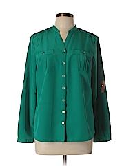Elementz Women Long Sleeve Button-Down Shirt Size M