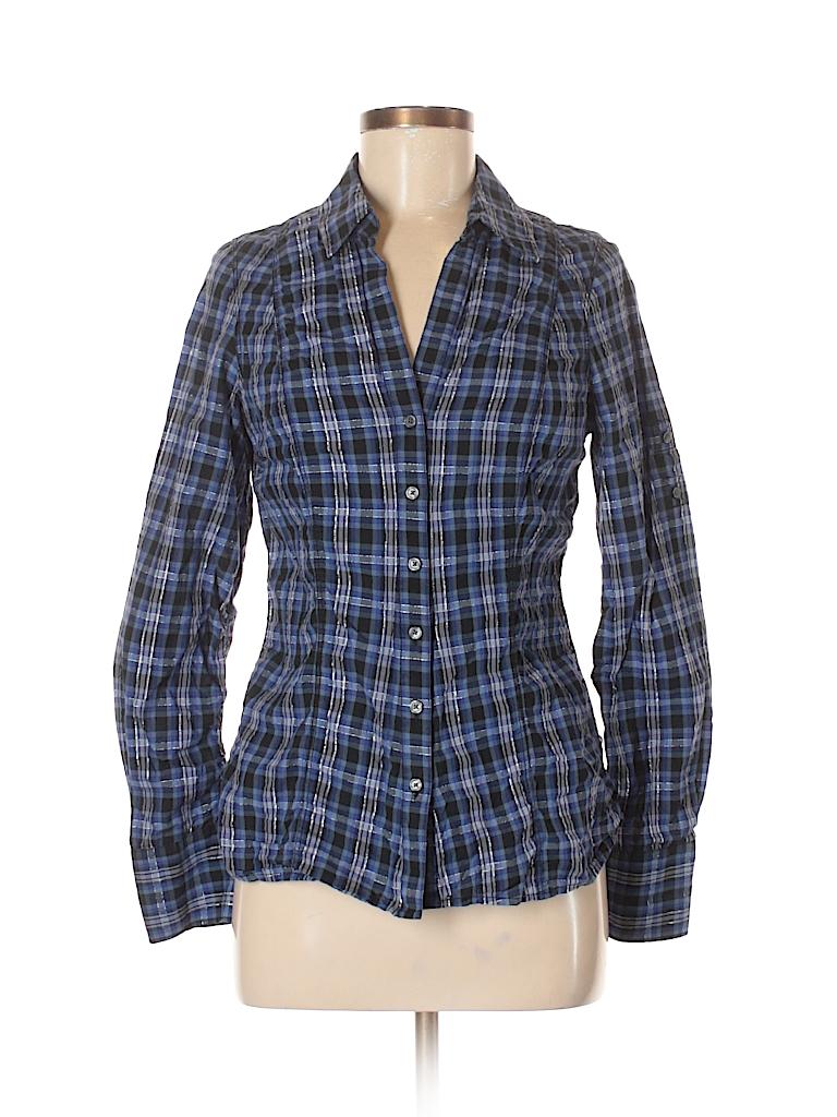 74d1f17875fb23 Express Checkered Gingham Navy Blue Long Sleeve Button-Down Shirt ...