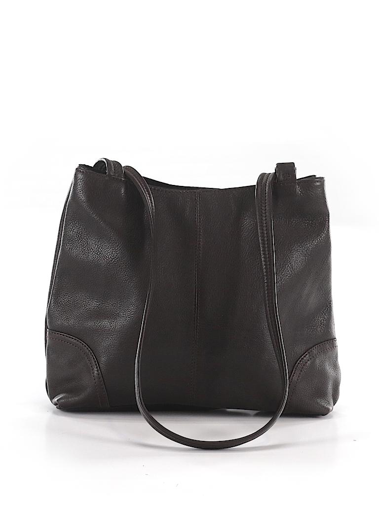 fd2113fc7179 Liz Claiborne 100% Leather Solid Brown Leather Shoulder Bag One Size ...