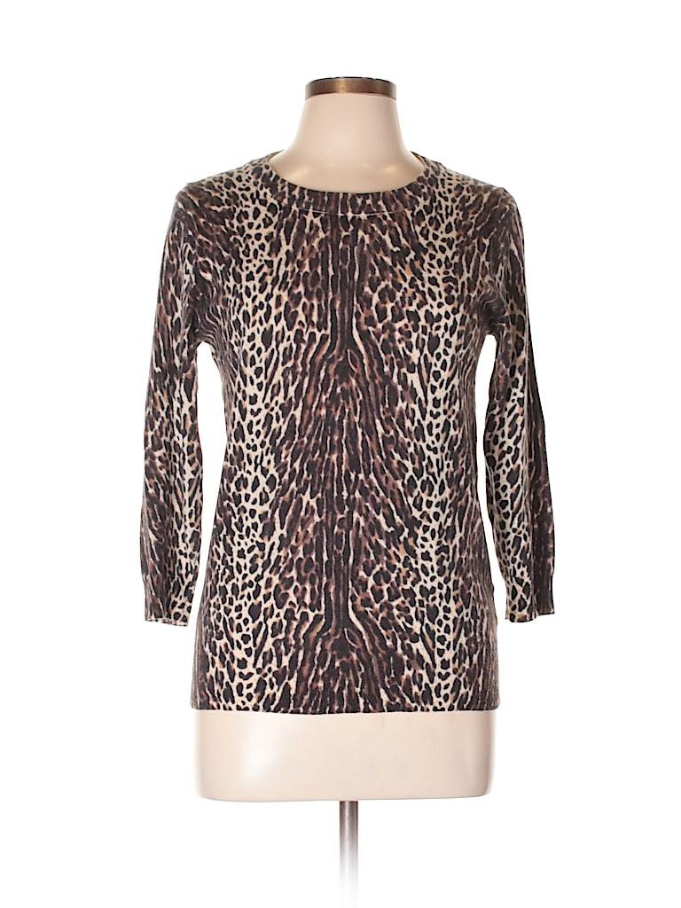 8e4e668b03fd J. Crew 100% Merino Wool Animal Print Brown Wool Pullover Sweater ...