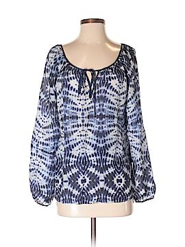 Velvet Long Sleeve Silk Top Size M