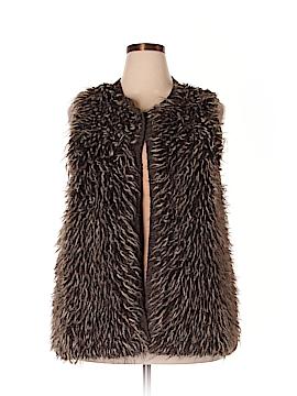 One World Faux Fur Vest Size 2X (Plus)