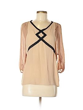 Line & Dot 3/4 Sleeve Silk Top Size M