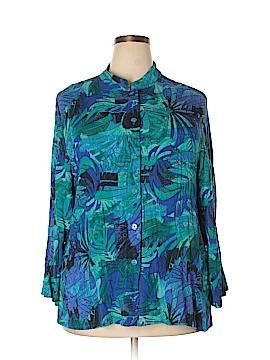 Draper's & Damon's 3/4 Sleeve Button-Down Shirt Size 1X (Plus)