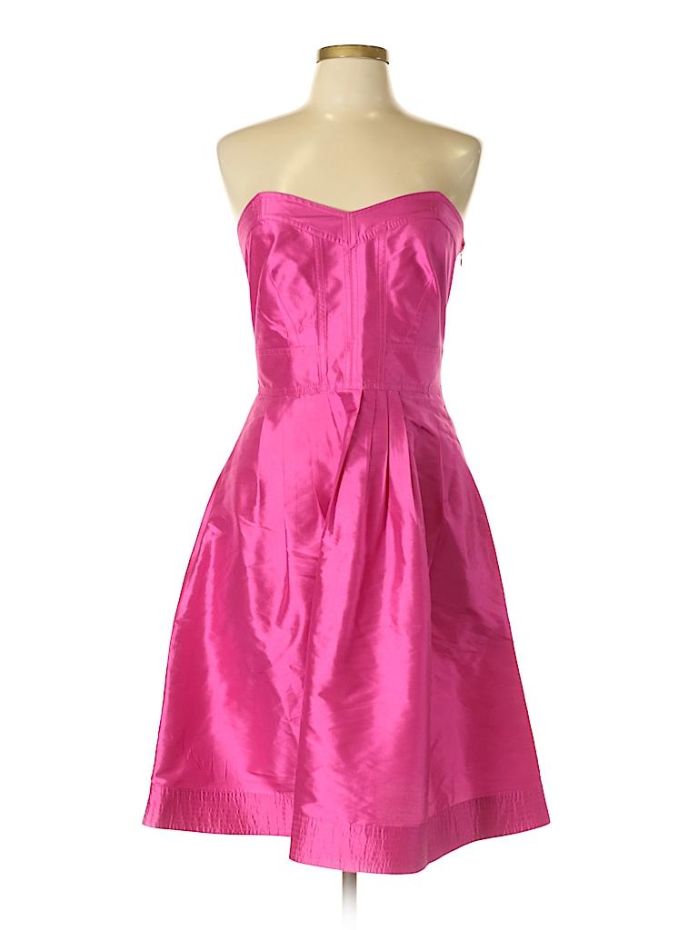 Diane von Furstenberg 100% Silk Solid Pink Cocktail Dress Size 10 ...