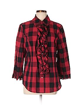 Live A Little 3/4 Sleeve Button-Down Shirt Size L