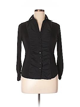 August Silk Long Sleeve Button-Down Shirt Size L