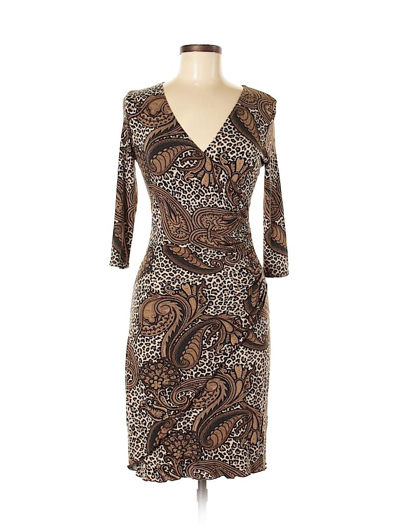 d8b732a48b28 Joseph Ribkoff Animal Print Paisley Brown Casual Dress Size 6 - 91 ...