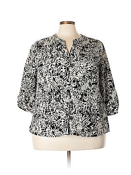 Coral Bay 3/4 Sleeve Button-Down Shirt Size 3X (Plus)