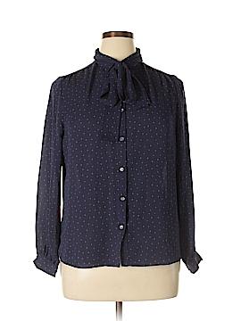 Lands' End Long Sleeve Button-Down Shirt Size 14 (Petite)