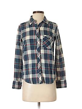 C & S Check & Stripe Long Sleeve Button-Down Shirt Size XS