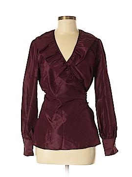 J. Peterman Long Sleeve Silk Top Size 8