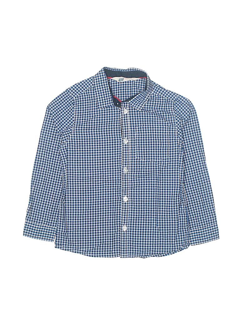cd34e7635f6 H M 100% Cotton Checkered Gingham Dark Blue Long Sleeve Button-Down ...