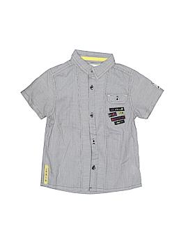 Deux Par Deux Short Sleeve Button-Down Shirt Size 2