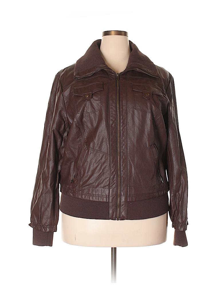 2f1c3ef3097 Ashley Stewart 100% Polyurethane Solid Brown Faux Leather Jacket ...