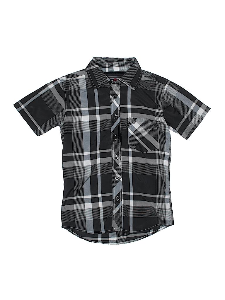 c74cb5ac5 Swiss Cross Plaid Black Short Sleeve Button-Down Shirt Size S (Kids ...