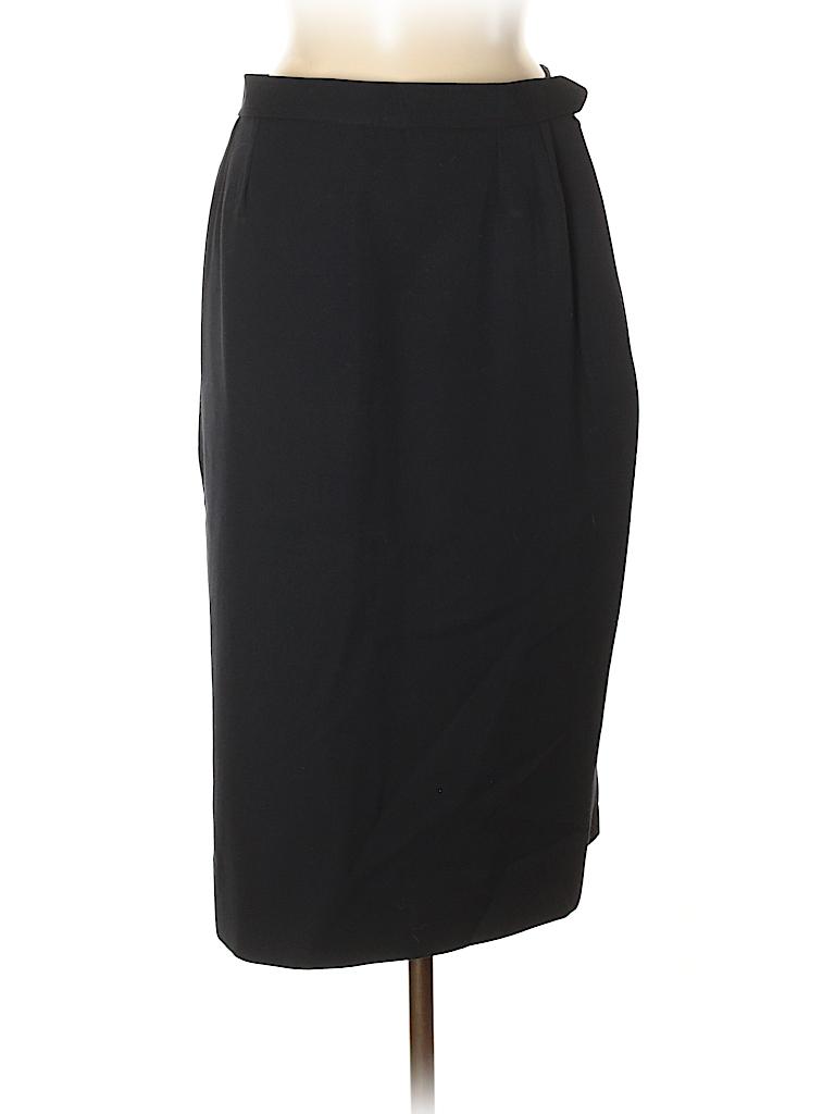 653bcad07cf Yves Saint Laurent Rive Gauche 100% Wool Solid Navy Blue Wool Skirt ...