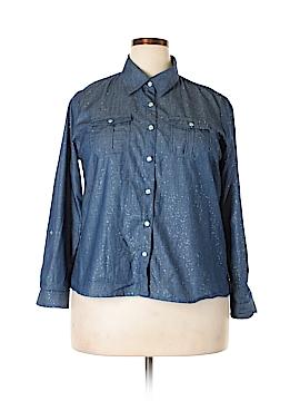 C.D. Petites Long Sleeve Button-Down Shirt Size XL