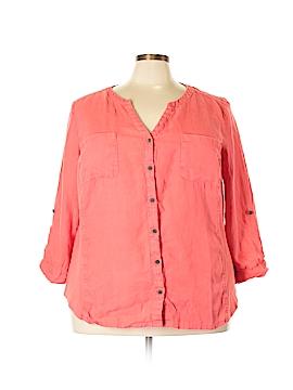 JM Collection Long Sleeve Button-Down Shirt Size 24w (Plus)