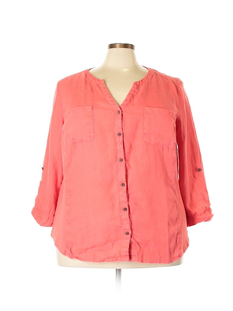 JM Collection Women Long Sleeve Button-Down Shirt Size 24w (Plus)