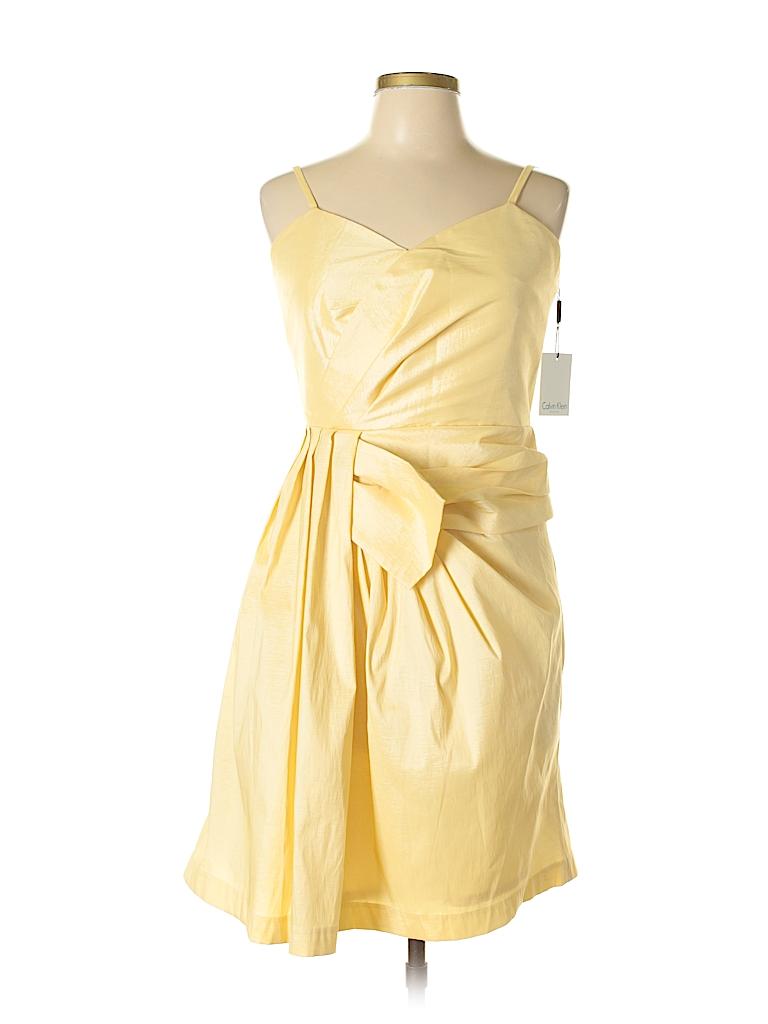 adba44edc94 Calvin Klein Solid Yellow Cocktail Dress Size 12 - 75% off