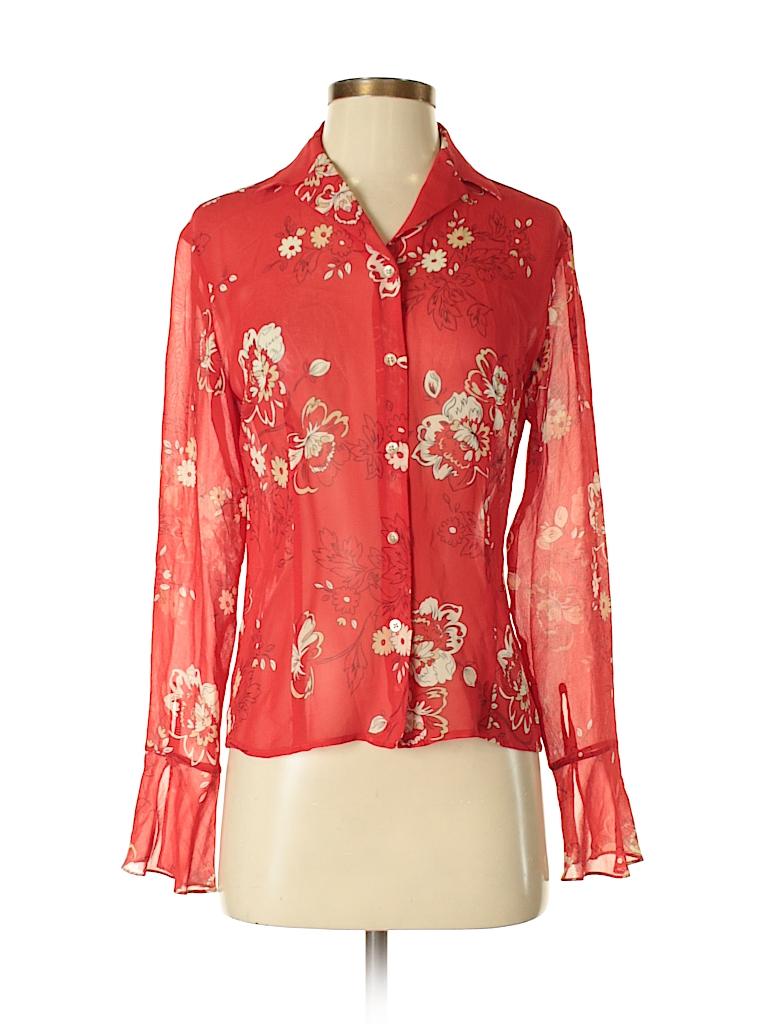 06bda589db673 Ann Taylor LOFT 100% Silk Floral Red Long Sleeve Silk Top Size 2 ...