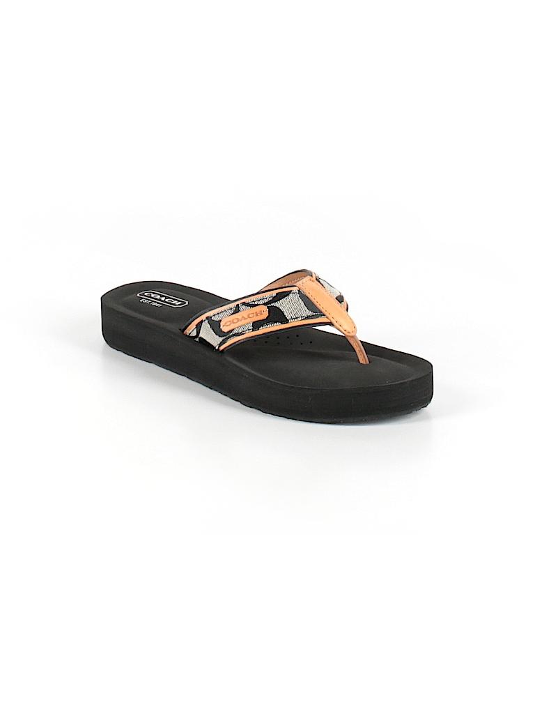 d7c6bd652ed4 Coach Print Black Flip Flops Size 5 1 2 - 77% off