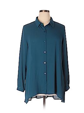 Susan Graver Long Sleeve Button-Down Shirt Size 14