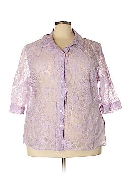 White Stag 3/4 Sleeve Button-Down Shirt Size 26W (Plus)