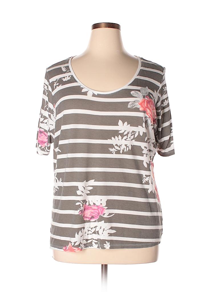 c3b7e587425 Lane Bryant Floral Stripes Gray Short Sleeve T-Shirt Size 18 - 20 ...