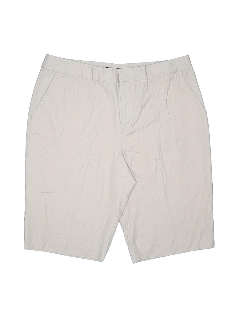 5f14c0b052 Lauren by Ralph Lauren 100% Cotton Solid Beige Khaki Shorts Size 16 ...