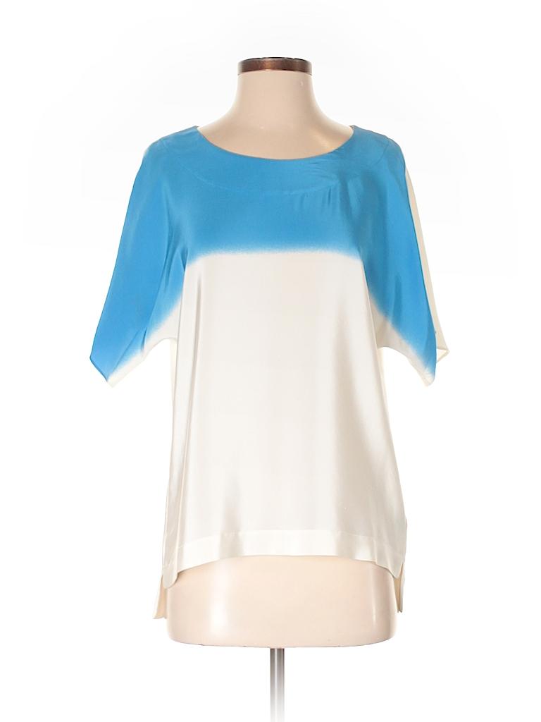 80a5a2b6f2ad Tibi 100% Silk Blue Short Sleeve Silk Top Size XS - 82% off