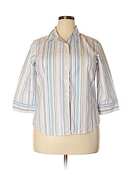 Foxcroft 3/4 Sleeve Button-Down Shirt Size 16 (Petite)