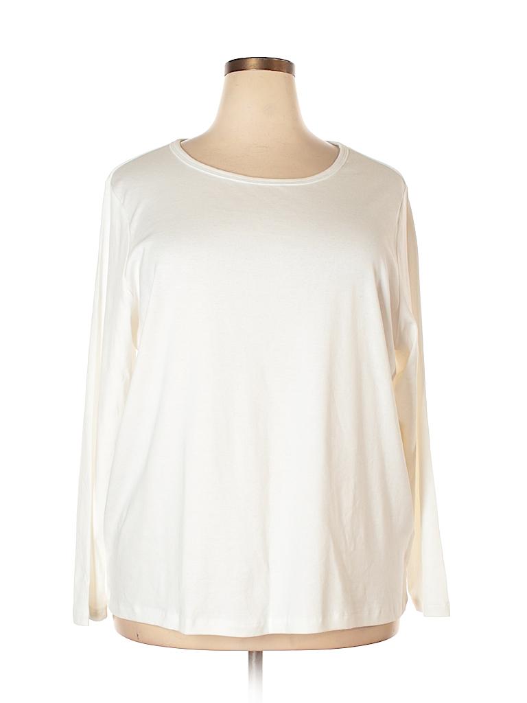 St John 39 S Bay 100 Cotton Solid White Long Sleeve T Shirt