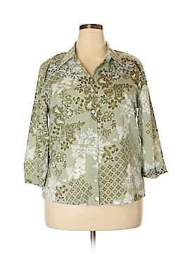 Cappagallo 3/4 Sleeve Button-Down Shirt Size XL