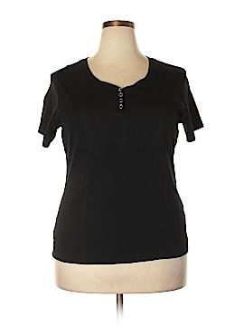 Karen Scott Short Sleeve Henley Size 1X (Plus)