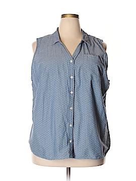 Basic Editions Sleeveless Button-Down Shirt Size 2X (Plus)