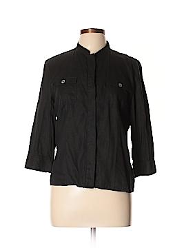 Kate Hill 3/4 Sleeve Button-Down Shirt Size L (Petite)