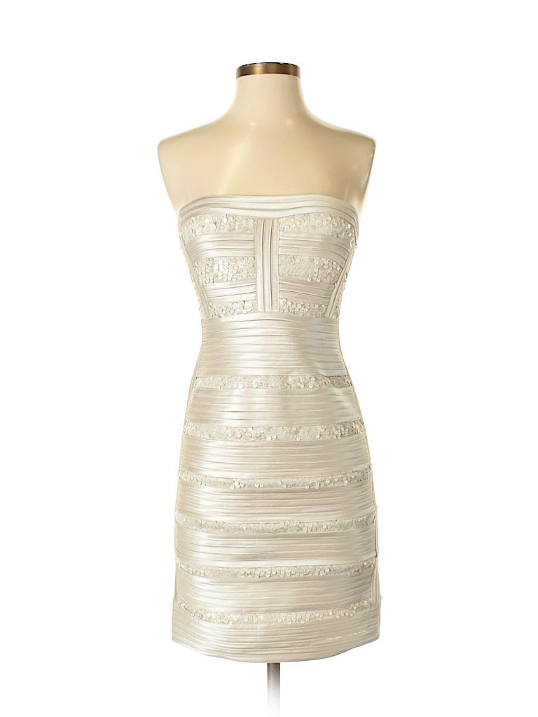 BCBGMAXAZRIA 100% Polyester Stripes Ivory Cocktail Dress Size 4 - 80 ...