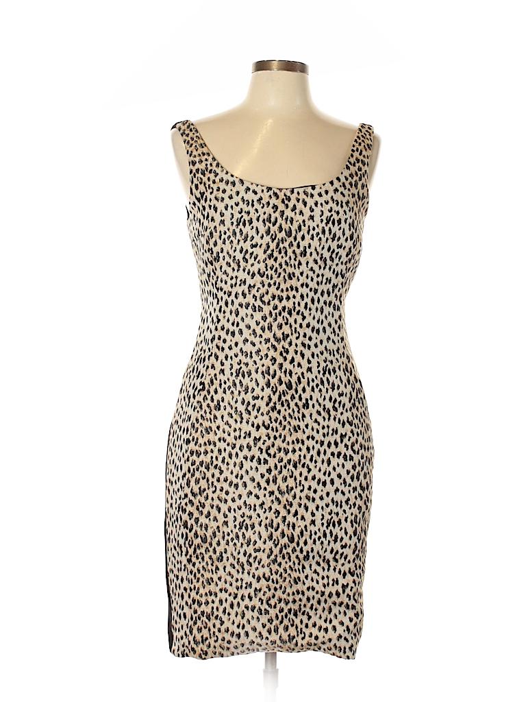 Diane von Furstenberg Animal Print Color Block Tan Cocktail Dress ...