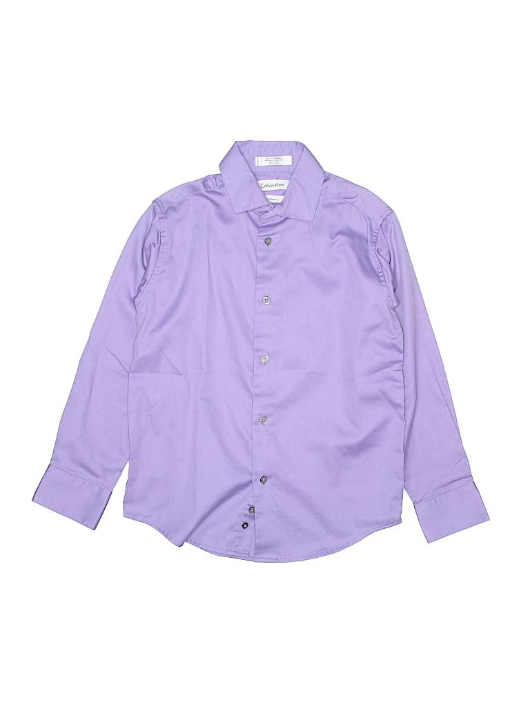 Calvin Klein 100 Cotton Solid Purple Long Sleeve Button Down Shirt