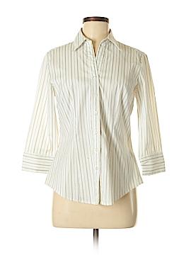 Essentials 3/4 Sleeve Button-Down Shirt Size M