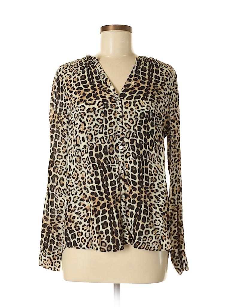 3e22082636c9 Zara Basic 100% Viscose Animal Print Black Long Sleeve Blouse Size M ...