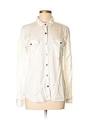Halogen Women Long Sleeve Button-Down Shirt Size M