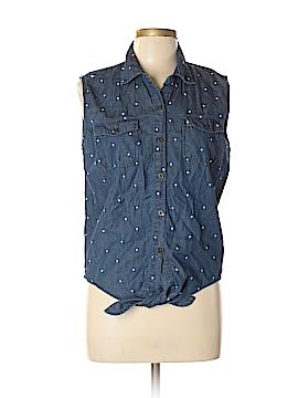 Black Poppy Short Sleeve Button-Down Shirt Size L