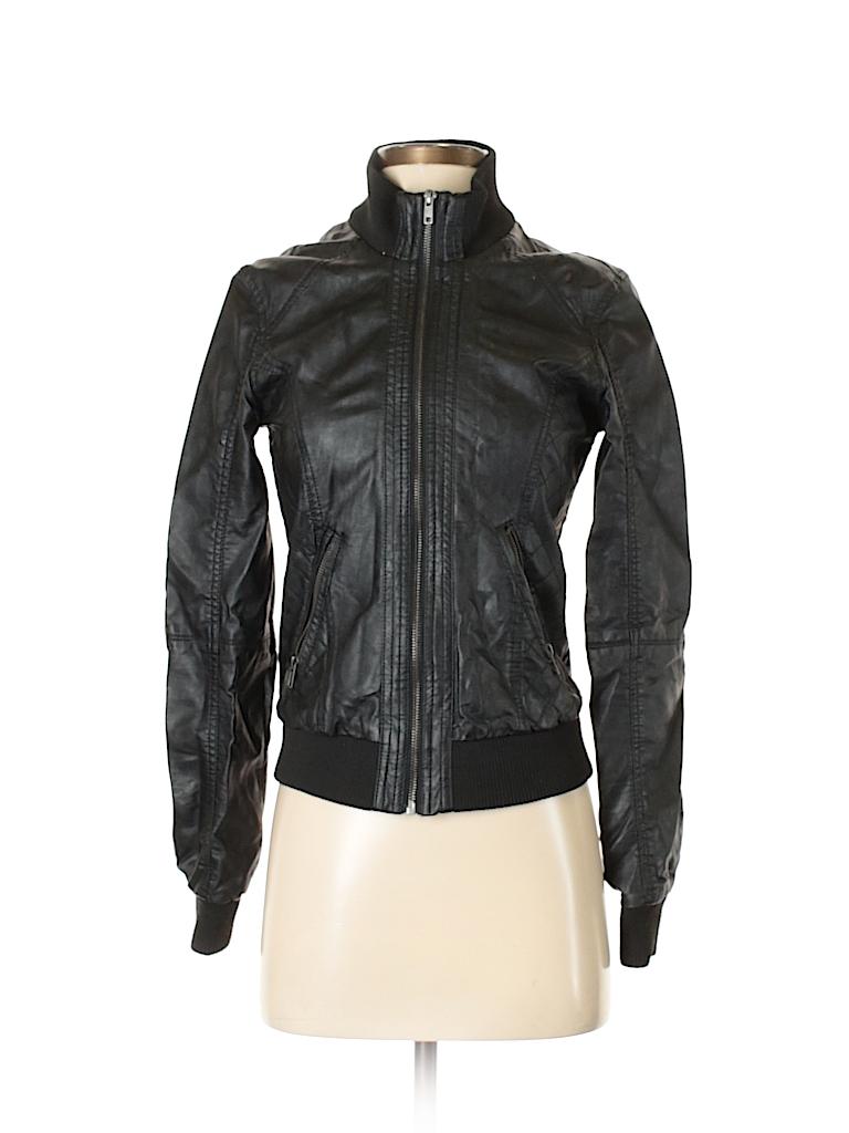 c68f2c34e1f03 Xhilaration 100% Rayon Solid Black Faux Leather Jacket Size S ...