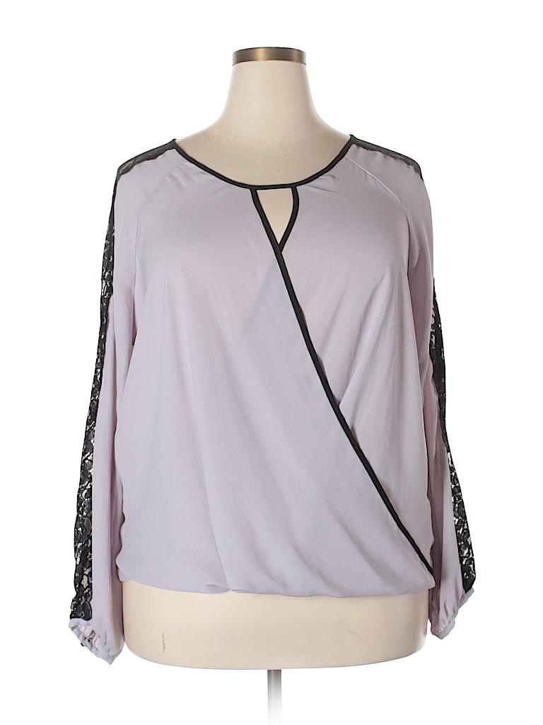 8e9438f6bdc3e9 Charlotte Russe 100% Polyester Lace Light Purple Long Sleeve Blouse ...