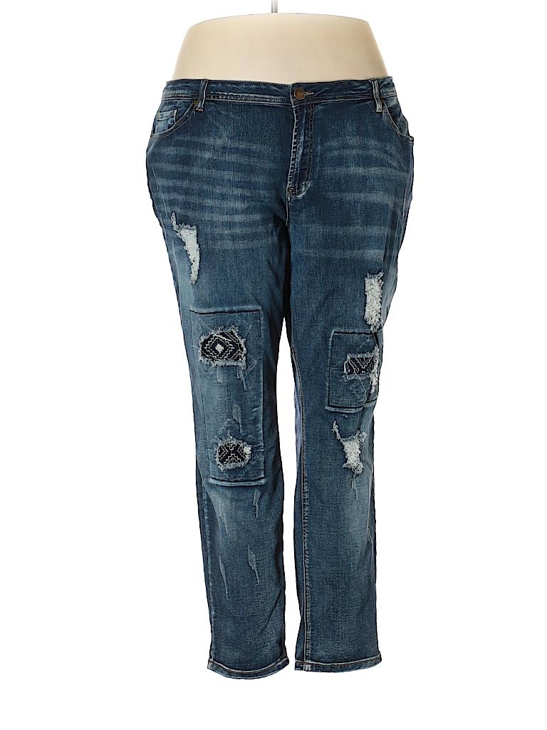 14365634295 Elite Jeans Solid Dark Blue Jeans Size 20 (Plus) - 70% off