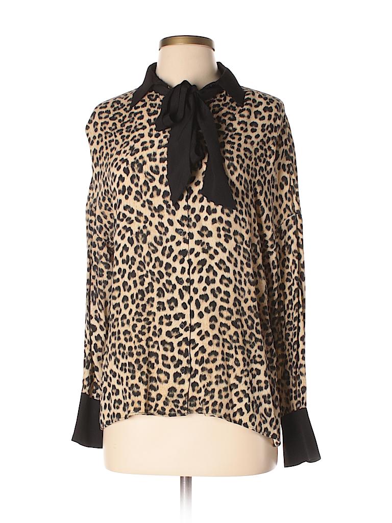 f61a54668dc0 Zara 100% Viscose Animal Print Black Long Sleeve Blouse Size XS - 52 ...